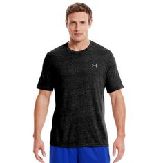 Men's UA Charged Cotton® Shortsleeve T-Shirt Tops by Under Armour Extra Extra Large Black  -Charged Cotton® has the comfort of cotton, but dries much faster. 4-way stretch fabrication allows greater mobility and maintains shape. Signature Moisture Transport System wicks sweat away from the body. Durable ribbed collar. High-density logo. Cotton/Elastane. Imported. Price: $47.84