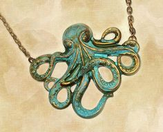 Steampunk Patina Octopus Pendant Necklace by couturebylolita, $48.00