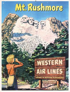 Mont Rushmore - Western Air Lines - 1954 -