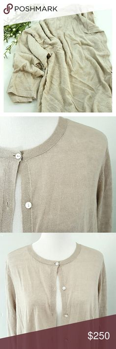 EILEEN FISHER Long Sleeve Organic Cardigan AMAZING cardigan by Eileen Fisher, all weather wear, natural bone color, button down, Italian yarn.  Fine organic linen crepe knit.  Brand new with all tags. Eileen Fisher Sweaters Cardigans