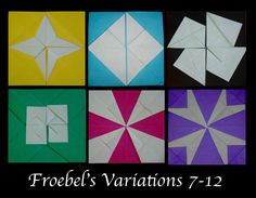 Origami Maniacs 196: Froebel's Variations 7-12 Origami Quilt, Origami Paper Folding, Origami Envelope, Hama Beads Minecraft, Minecraft Pixel Art, Minecraft Skins, Minecraft Buildings, Perler Beads, Gato Origami