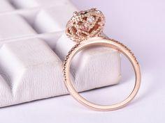 7x9mm Oval Morganite Engagement Ring 0.3ct Diamond Halo Pave Diamond Wedding Band 14K Rose Gold - 5 / 14K Yellow Gold