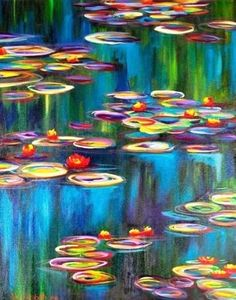 This painting is my interpretation of the Water Lilies made so famous by Claude Monet. Vibrants red and yellow flowers float in the watery blue-green impression Claude Monet, Monet Lily Pads, Canvas Art Prints, Fine Art Prints, Painting Canvas, Art Amour, Monet Water Lilies, Love Art, Art Lessons