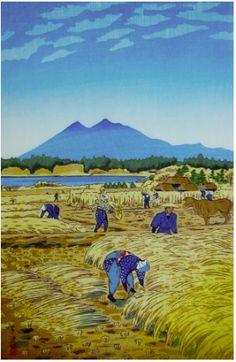 Harvesting, by Shiro Kasamatsu, 1953 -- See also at: http://www.hanga.com/viewimage.cfm?ID=2744