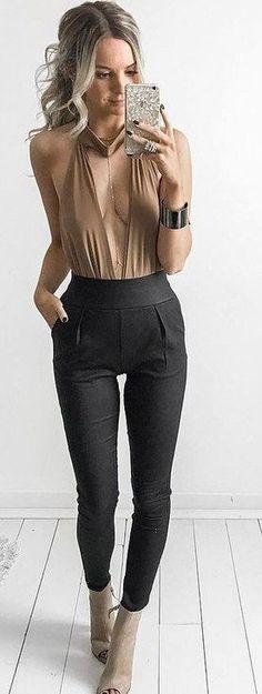 #spring #outfits Camel Bodysuit + Black Skinny Pants