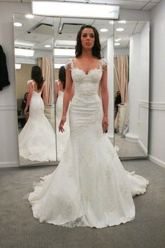 Sweetheart Cap Sleeves Backless Wedding Dresses,Mermaid Bridal Gowns,Beach Wedding Dress,N192