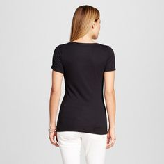 Women's Fitted Scoop Tee Ebony Xxl - Merona, Black