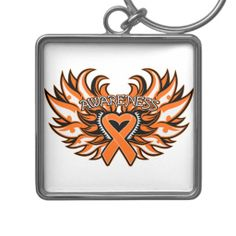 Kidney Cancer Awareness Heart Wings 2.png Keychains