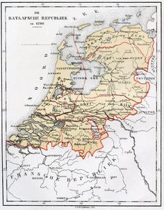 1798 - The Batavian Republic was the successor of the Republic of the Seven United Netherlands. It was proclaimed on 19 January and ended on 5 June with the accession of Louis I to the throne of Holland. Note that Limburg was not part of the Republic. European Map, European History, Early World Maps, Holland Map, Netherlands Map, Hellenistic Period, Country Maps, Old Maps, Amsterdam