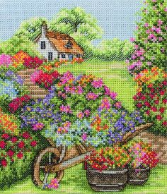 Anchor Cross Stitch Kit - Floral Wheelbarrow, Flowers - Stitching Crafts for All Designer: Anchor , Price: We sell cross stitch supplies online. Huge range of patterns, kits, fabrics and fibers. I'd never have the patience to finish something like th Cross Stitch House, Counted Cross Stitch Kits, Cross Stitch Charts, Cross Stitch Designs, Cross Stitch Patterns, Ribbon Embroidery, Cross Stitch Embroidery, Embroidery Patterns, Cross Stitch Landscape