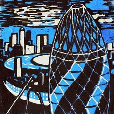 An amazing lino print based on London's buildings by student at Park view academy