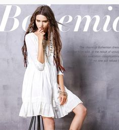 Women's Spring New Boho Style White Cotton Dress Loose Style O-Neck Three Quarter Sleeve Dress With Tassels