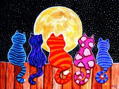 Meowing At Midnight by Nick Gustafson - Meowing At Midnight Painting - Meowing At Midnight Fine Art Prints and Posters for Sale// que preciosidad de gatos Jeje :) Arte Elemental, Cat Quilt, Cat Colors, Art Club, Art Plastique, Art Activities, Elementary Art, Teaching Art, Art Lessons