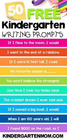 50 FREE Kindergarten Writing Prompts for kids! These free story starters will i. - 50 FREE Kindergarten Writing Prompts for kids! These free story starters will inspired your kinder - Kindergarten Journals, Kindergarten Writing Prompts, Journal Writing Prompts, Writing Prompts For Kids, Homeschool Kindergarten, Kids Writing, Teaching Writing, Writing Practice For Kids, Homeschooling