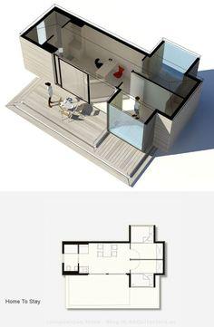 Simple Home: Casa modular con elementos deslizantes Mini House Plans, Vintage House Plans, Small House Plans, House Floor Plans, Tiny House Layout, Tiny House Design, House Layouts, Rv Homes, Shed Homes