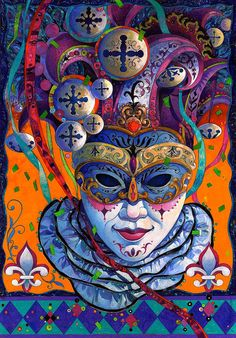 David Galchutt Carnival Mask Canvas – x 21 - Abstract Painting Clown, Illustration, Drawings, Canvas, Painting, Art, Fine Art Prints, Canvas Art, Street Art