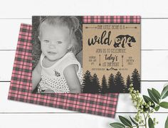 Little bear wild one Photo Invitation girls wild one blush Photo Birthday Invitations, Birthday Cards, Wild Ones, First Photo, Blush, Printables, Bear, Handmade Gifts, Girls