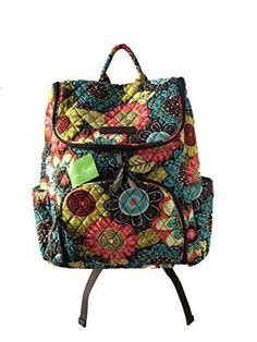 Vera Bradley Double Zip Backpack in Flower Shower w/Green Interior xmas gift new #VeraBradley