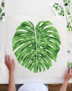 "Happy Friday  24""x24"" Monstera deliciosa I just finished. Watercolor on thick arches cotton paper in my custom green mix."