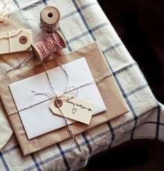 A brown paper package wrapped in twine. Stick a tag on it and *tada* a perfectly wrapped gift.