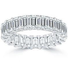"7.70 Carat F-VVS1 Emerald Cut Diamond Eternity Band ""U"" Shape Platinum Setting"