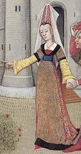 """Variaciones en las magas de los vestidos. La imagen muestra mangas largas y anchas por debajo del vestido de mangas cortas. La imagen pertenece a Guillaume de Lorris y Jean de Meung """"Le Roman de la Rose"""" (hecho por Luisa de Saboya a finales del siglo 15)"""