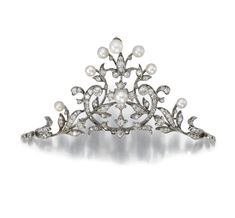 NATURAL PEARL AND DIAMOND TIARA, LATE 19TH CENTURY.     Of foliate design set withnatural pearls and circular-cut diamonds, brooch fitting detachable, additional tiara fitting, fitted case Carrington & Co.