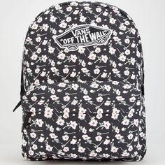 Vans Realm Backpack ($38) ❤ liked on Polyvore featuring bags, backpacks, mochila, floral print backpack, zipper bag, padded backpack, flower print backpack and shoulder strap backpack