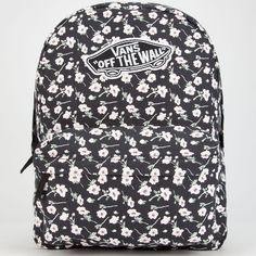 Vans Realm Backpack ($38) ❤ liked on Polyvore featuring bags, backpacks, mochila, floral print backpack, zipper bag, padded backpack, flower print backpack and shoulder strap backpack