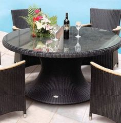 """Royal Teak HE60B Helena 60 in. Table in Black by Royal Teak. $958.00. Finish: Black.. Collection: Helena.. Usage: Exterior.. Great Gift Idea.. Dimensions: 60W x 29.5H x 60D.. Powder Coated Rust Resistant Aluminum Frame. All Weather Woven Marine Grade Vinyl Covering. Minimal assembly required. Collection: Helena. Finish: Black. Dimensions: 60""""W x 29.5""""H x 60""""D. Usage: Exterior."""