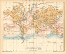 1904 Original Antique Map of the Ocean by CabinetOfTreasures