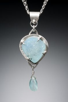 Blue Lagoon. .999 pure silver, chalcedony druzy. C2012 elmh. Photo by Robert Diamante