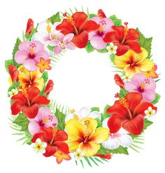 Wreath of Exotic Flowers PNG Clipart Picture