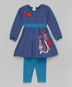 Look what I found on #zulily! Blue Bird Dress & Leggings - Infant, Toddler & Girls #zulilyfinds