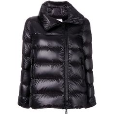 Moncler padded Salix jacket (8 430 SEK) ❤ liked on Polyvore featuring outerwear, jackets, black, funnel neck jacket, feather jacket, wool jacket, water resistant jacket and quilted padded jacket