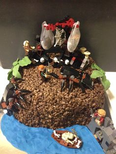 The Hobbit lego cake with chocolate crackle covering.