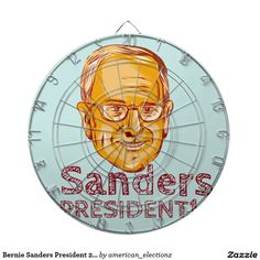 "Bernie Sanders President 2016 Dart Boards. Illustration showing Bernard ""Bernie"" Sanders, American Senator, elected politician and Democrat presidential candidate set inside circle on isolated background and words Sanders President 2016 done in etching sketch style."