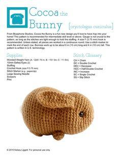 Crochet Pattern: Cocoa the Bunny Crochet Cat Pattern, Crochet Bear, Crochet Patterns Amigurumi, Love Crochet, Beautiful Crochet, Easy Crochet, Crochet Animals, Crochet Toys, Crochet Phone Cases