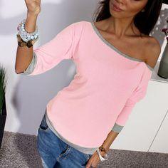 נשים סקסי 2017 האביב חדש 3/4 שרוול Loose מקרית כבויה כתף החולצה Tees T חולצות צבעים נשים בתוספת גודל חולצה Q1725