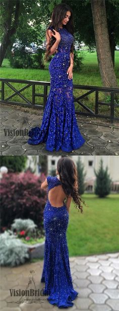 Bateau Royal Blue Lace Beading Open Back Cap Sleeves Long Prom Dress, Sexy Mermaid Side Slit Prom Dress, VB0424 #promdress #promdresses #longpromdresses #lacedress