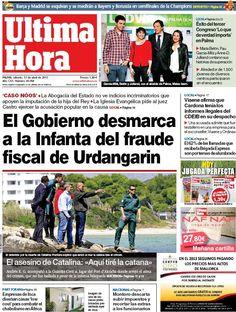 Los Titulares y Portadas de Noticias Destacadas Españolas del 13 de Abril de 2013 del Diario Ultima Hora ¿Que le parecio esta Portada de este Diario Español?