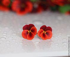 """Купить """"Рыжая"""" серьги-гвоздики - рыжий, серьги гвоздики, анютины глазки, цветы ручной работы"""