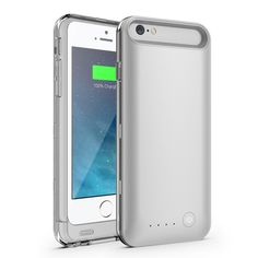 For iPhone 6 IFANS MFI Certified 3100mAh Battery Charger Case w/ Extra Bumper for iPhone 6s 6 4.7 inch - Silver / Transparent #Affiliate