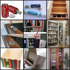 44 New Ideas For Smart Storage Hiding Spots Hidden Spaces, Hidden Rooms, Hidden Compartments, Secret Compartment, Secret Space, Secret Rooms, Secret Storage, Hidden Storage, Secret Hiding Spots