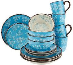 Breathtaking Temp Tations Floral Lace 24 Piece Dinnerware Service ...