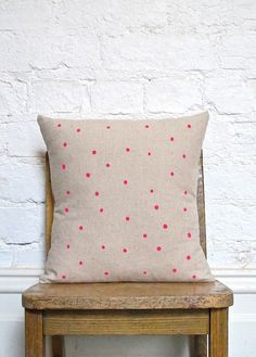 Hand Printed Polka Dot Cushion Cover - Neon Pink by hello milky