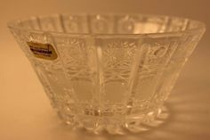 Vintage Imperial Crystal 24% Lead Cut Poland Bowl Candy Dish Christmas Beautiful
