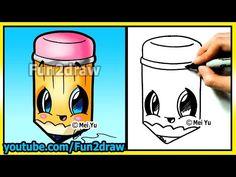 Back to School Cutie! How to Draw Easy Things - Pencil - Cartoon drawing tutorials Fun2draw kawaii - YouTube