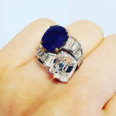 #christiesjewels #sapphire #kashmirsapphire #diamondring #bulgari 5.79ct Kashmir, no heat with 5.01ct E/VS1 twin ring by Bulgari... Hong…