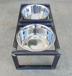 This handcrafted pet feeder elevates your pet's food/water to a more comfortable level. It features 2 removable stainless steel bowls of 5 quart capacity. The frame is fully welded and has a clear coat. Dog Bowl Stand, Pet Feeder, Steel Metal, Dog Bowls, Your Pet, Pets, Furniture, Decor, Decoration